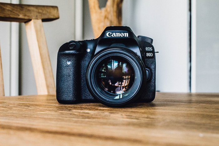 A Canon DSLR resting on a table