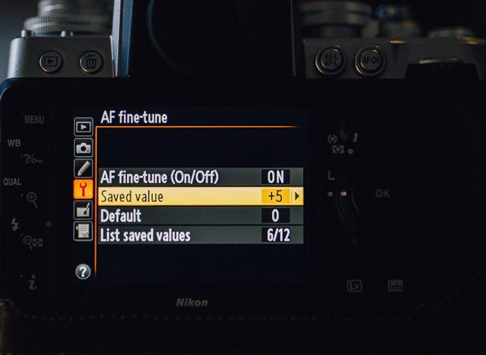 The AF fine-tune menu setting on a Nikon DSLR camera