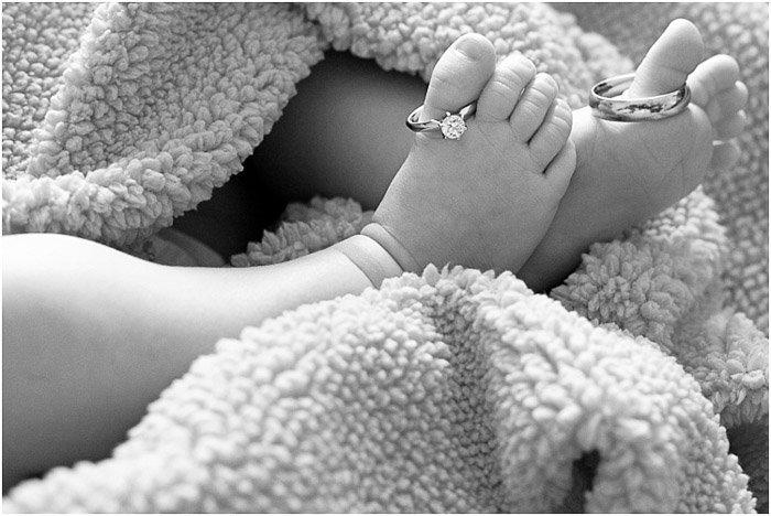 Close up newborn portrait in black and white