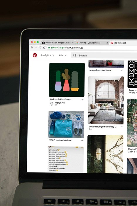 A laptop screen which is showing pinterest boards