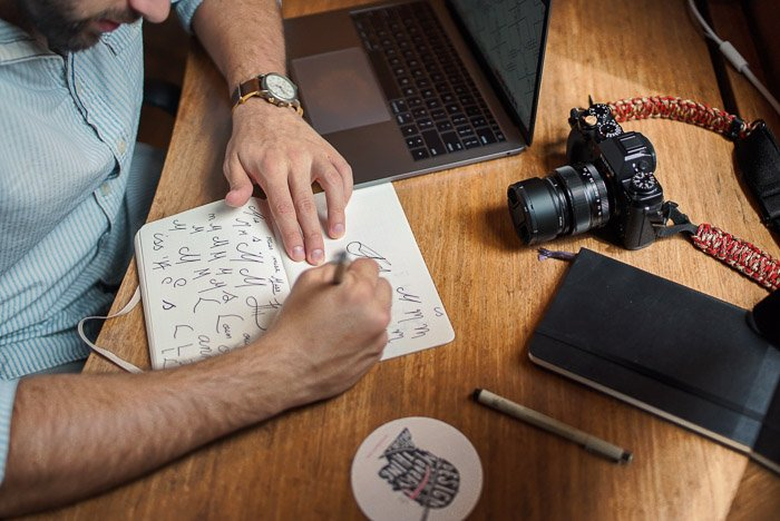Overhead shot of a person making a photography marketing ideas