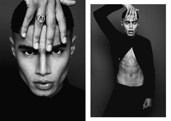 A fashion photography diptych of a male model posing, shot using ring flash photography