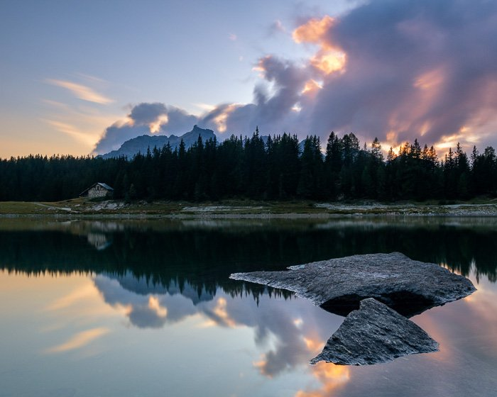 A poorly planned summer landscape photography shot of a lake