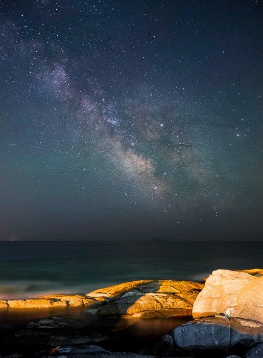 Summer Milky Way shot at a rocky coastline