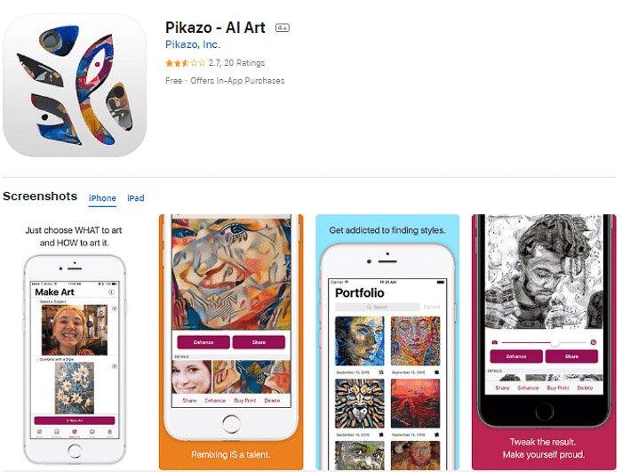 Screenshot of the Pikazo app that turns photos into art