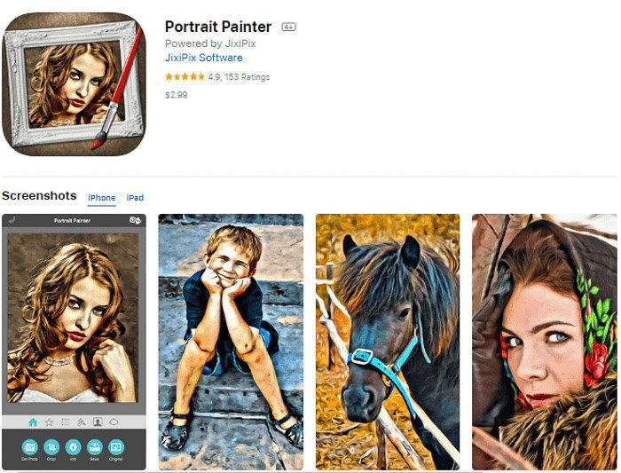 Screenshot of the Portrait Painter app for turning pictures into paintings