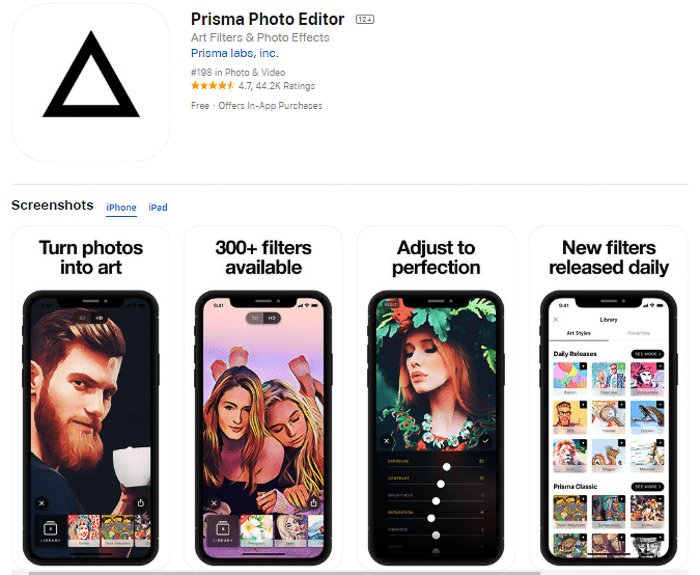 Screenshot of the Prisma photo editor app for turning photos into paintings