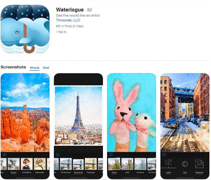 Screenshot of the Waterlogue app that turns photos into art