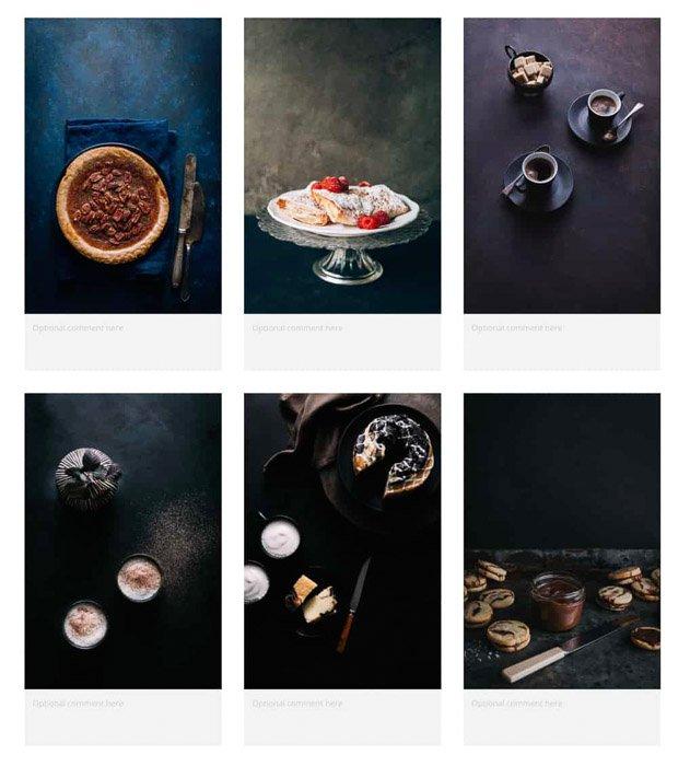 A food photography mood-board example