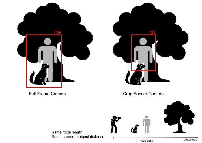 diagram explaining depth of field and field of view - crop sensor vs full frame camera