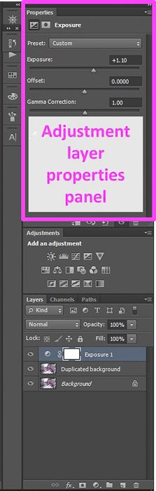 a screenshot showing the adjustment layer property panel in Photoshop