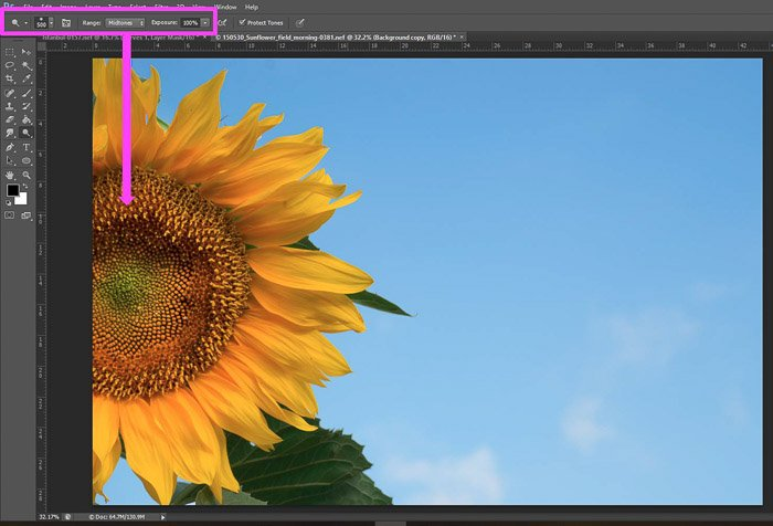 a screenshot showing how to use dodge tool in Photoshop for beginners