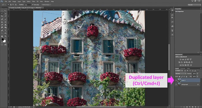 a screenshot showing how to edit photos in Photoshop, with an arrow pointing to Duplicated layer