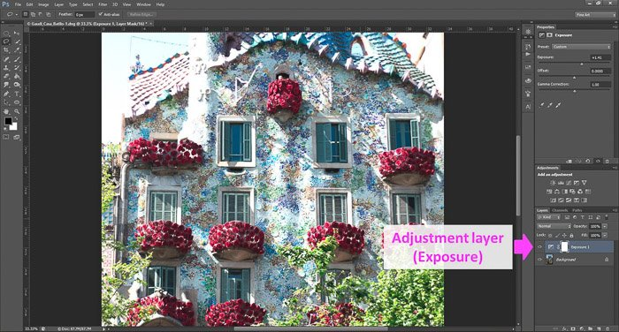 a screenshot showing how to edit photos in Photoshop for beginners, with an arrow pointing to Adjustment layer (exposure)