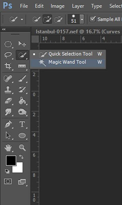 a screenshot showing how to select magic wand tool in Photoshop