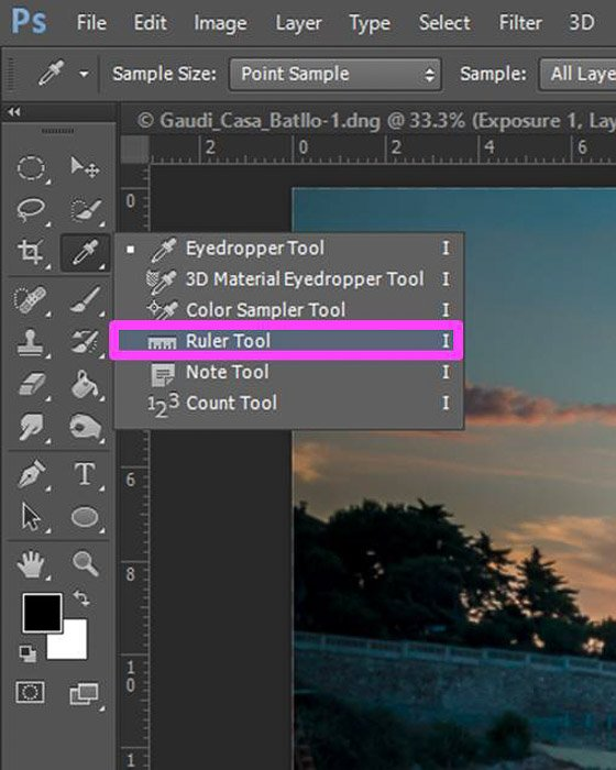 a screenshot showing how to edit photos in Photoshop for beginners - ruler tool