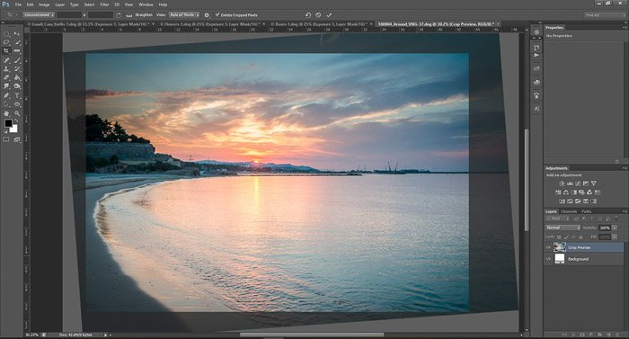 a screenshot showing how to crop photos in Photoshop for beginners