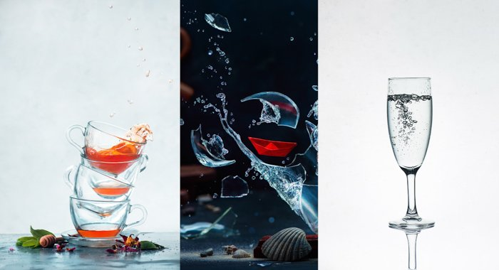 A creative glass photography triptych
