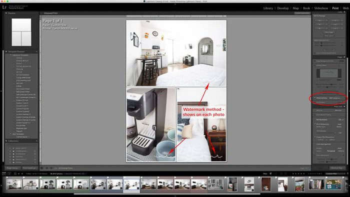 A screenshot showing how to create a photo collage in Lightroom