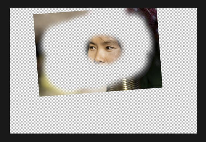 Screenshot showing how to merge two photos in Photoshop - erase