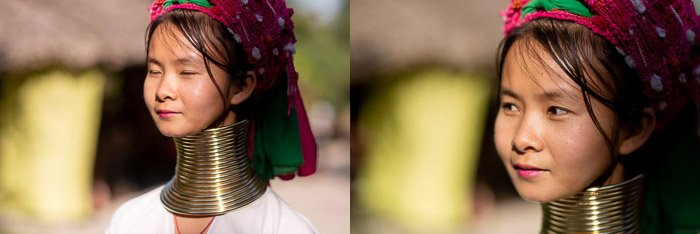 Diptych of two portrait images for merging photos in photoshop