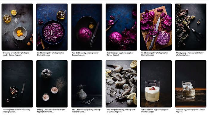 An online photography mood-board example
