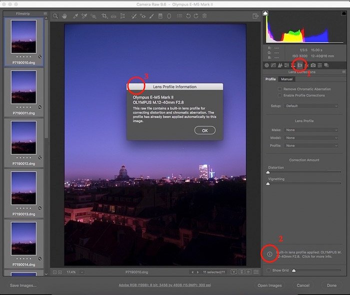 A screenshot of how to check if lens corrections has been applied in ACR, starstax interface