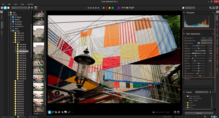 A screenshot of using highlight recovery in AfterShot Pro 3
