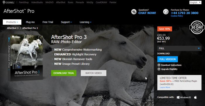 A screenshot of the aftershot pro pricing plans