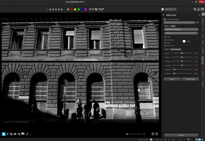 A screenshot of adding a watermark to a street photography image in Corel AfterShot Pro 3
