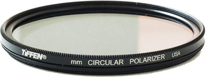 A Tiffen circular polarizer camera lens filter