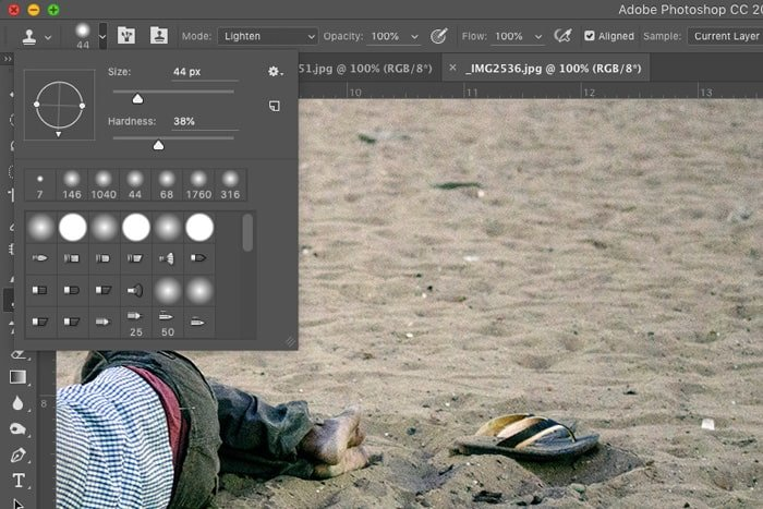 A screenshot of how to remove objects from a photo with Photoshop
