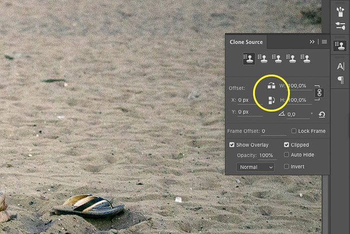 A screenshot of how to remove objects from a photo with Photoshop clone stamp tool