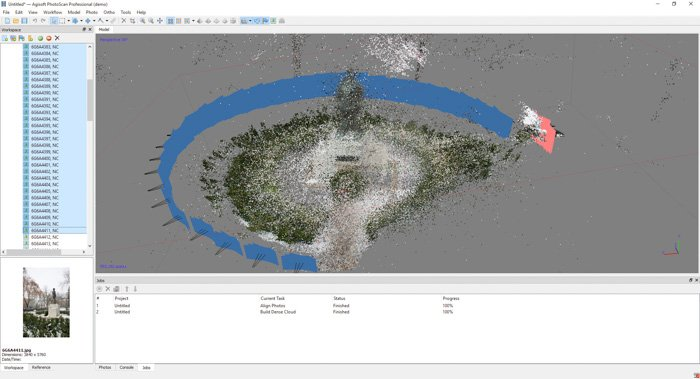A screenshot showing how to create a 3d model from photos using agisoft photosan