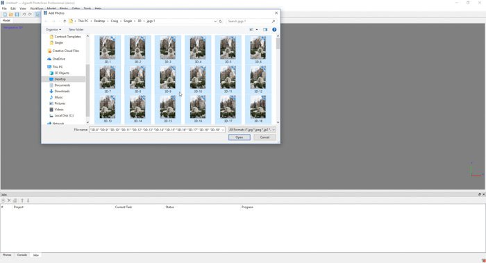 A screenshot showing how to rename image files to create a 3d model from photos using agisoft photoscan