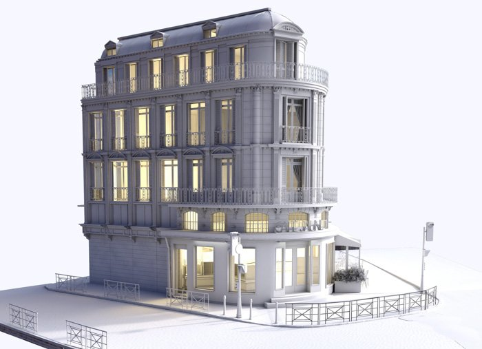 A 3d model from photos of a large white house