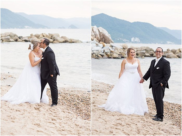 Destination wedding photography diptych of the couple posing on a beach