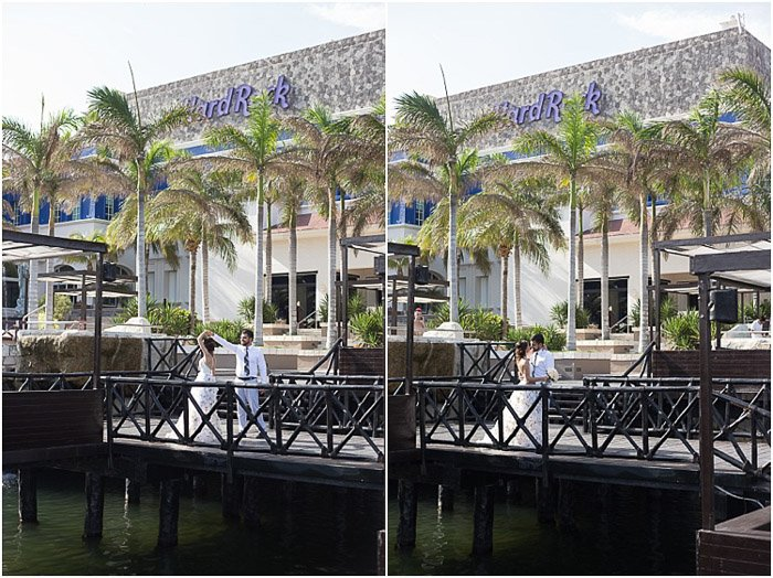 Destination wedding photography diptych of the couple posing outdoors by a harbour