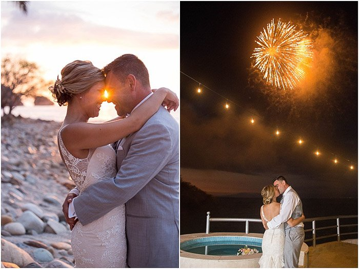 Destination wedding photography diptych of the couple embracing outdoors