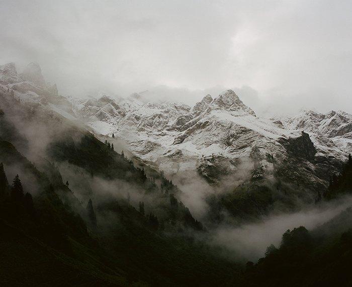 An analogue photo of a stunning mountainous landscape