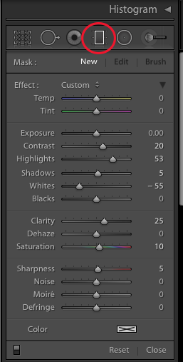 A screenshot showing how to create a Light Leak in Lightroom