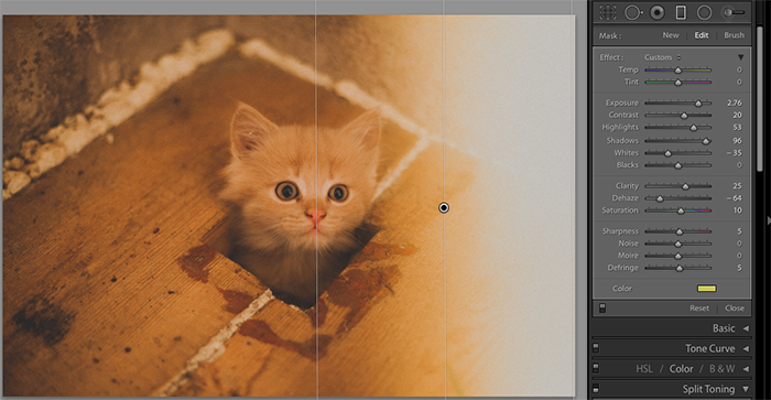 A screenshot showing how to create a Light Leak in Lightroom using a graduated filter