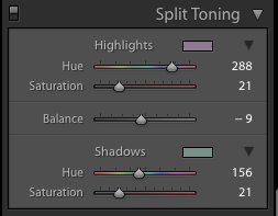 A screenshot showing how to use split toning to achieve the Film Photography look