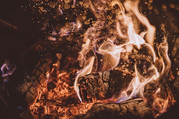 A close up fire photography shot