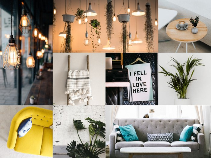An interior photography montage created with cool free photoshop templates