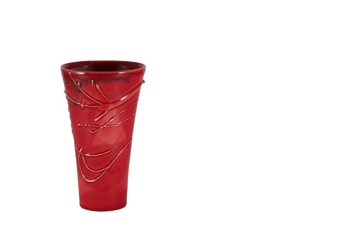 A red vase against white background