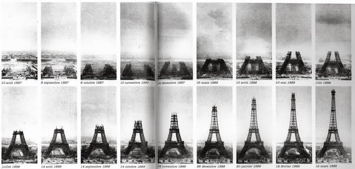 Famous photos of the construction of the Eiffel Tower