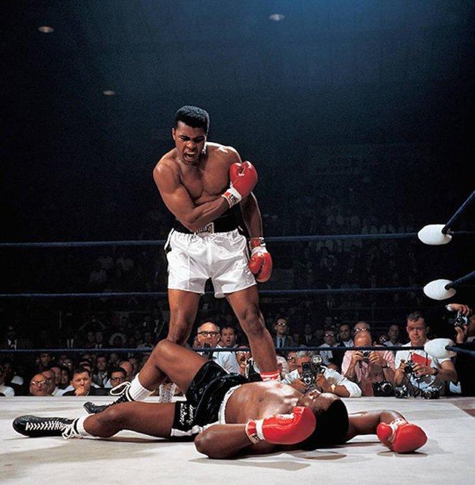 Muhammad Ali Knocks Out Sonny Liston - iconic photos by Neil Leifer