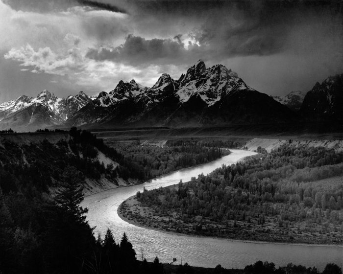 The Tetons and the Snake River famous photo by Ansel Adams
