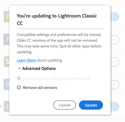 A screenshot of updating from Lightroom 6 to Lightroom cc